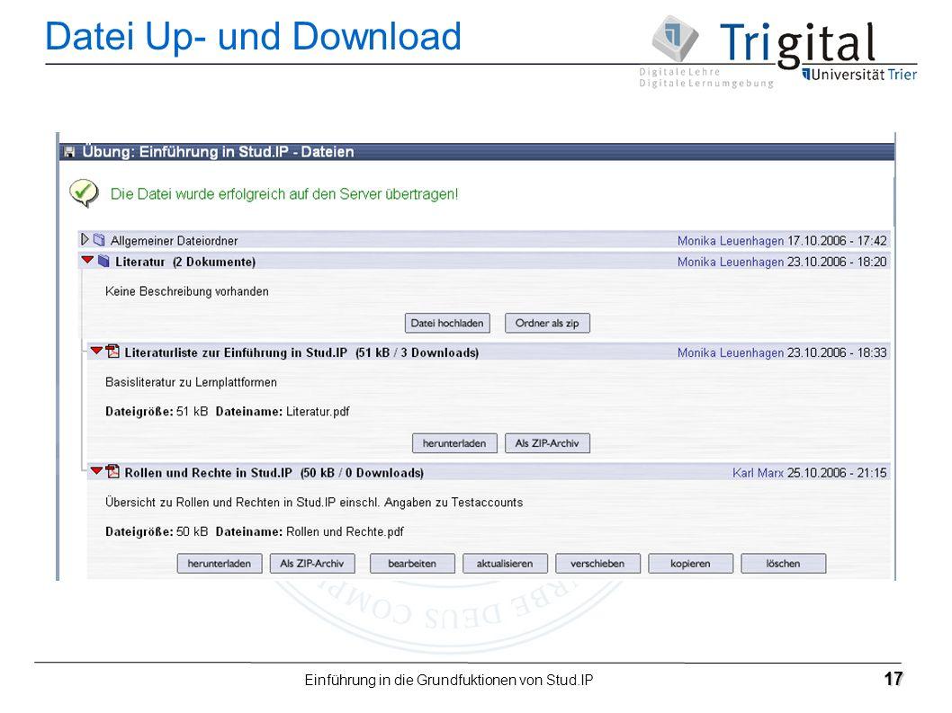 Einführung in die Grundfuktionen von Stud.IP 17 Datei Up- und Download