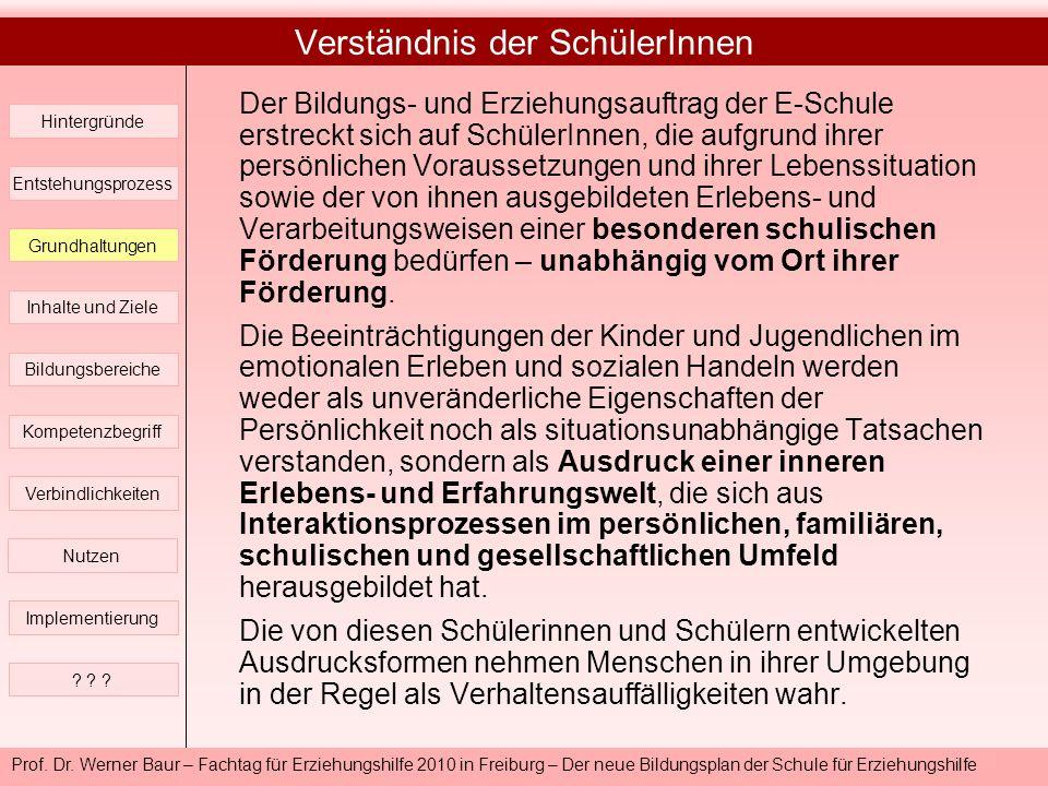 Prof. Dr. Werner Baur – Fachtag für Erziehungshilfe 2010 in Freiburg – Der neue Bildungsplan der Schule für Erziehungshilfe Verständnis der SchülerInn