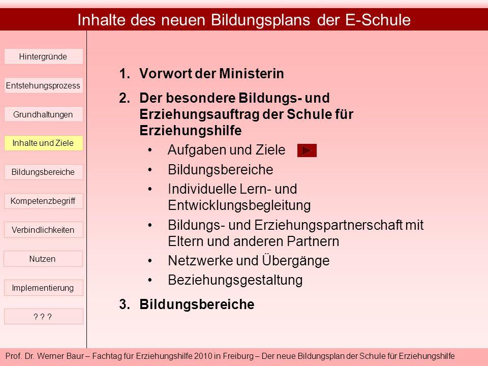 Prof. Dr. Werner Baur – Fachtag für Erziehungshilfe 2010 in Freiburg – Der neue Bildungsplan der Schule für Erziehungshilfe Inhalte des neuen Bildungs