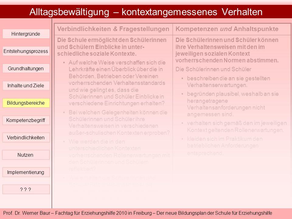 Prof. Dr. Werner Baur – Fachtag für Erziehungshilfe 2010 in Freiburg – Der neue Bildungsplan der Schule für Erziehungshilfe Alltagsbewältigung – konte