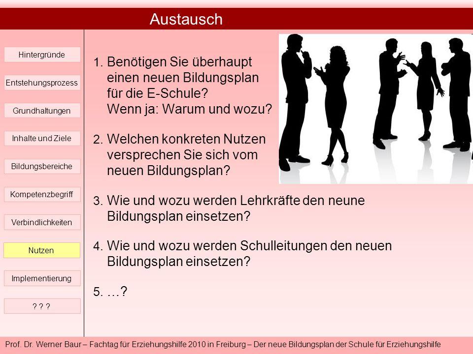 Prof. Dr. Werner Baur – Fachtag für Erziehungshilfe 2010 in Freiburg – Der neue Bildungsplan der Schule für Erziehungshilfe Austausch untereinander Hi