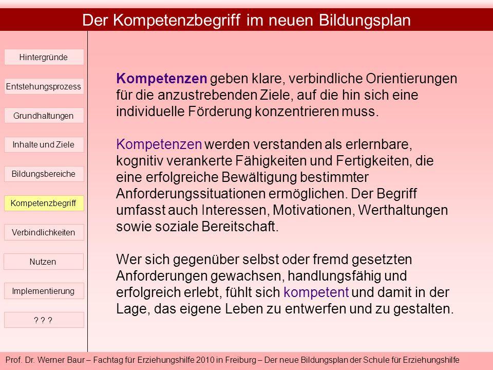 Prof. Dr. Werner Baur – Fachtag für Erziehungshilfe 2010 in Freiburg – Der neue Bildungsplan der Schule für Erziehungshilfe Der Kompetenzbegriff im ne