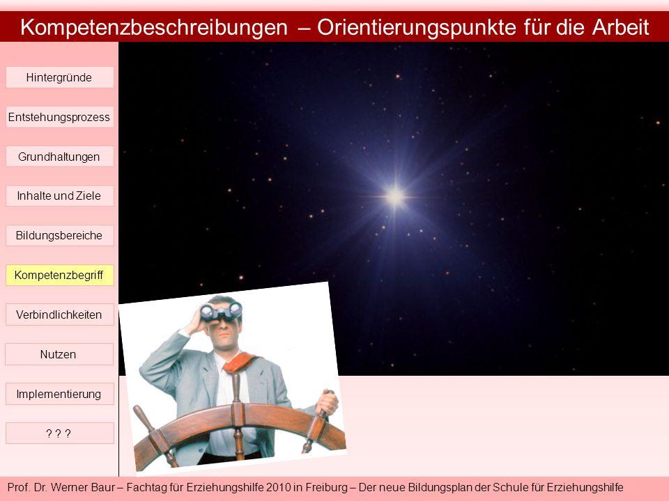 Prof. Dr. Werner Baur – Fachtag für Erziehungshilfe 2010 in Freiburg – Der neue Bildungsplan der Schule für Erziehungshilfe Kompetenzbeschreibungen –