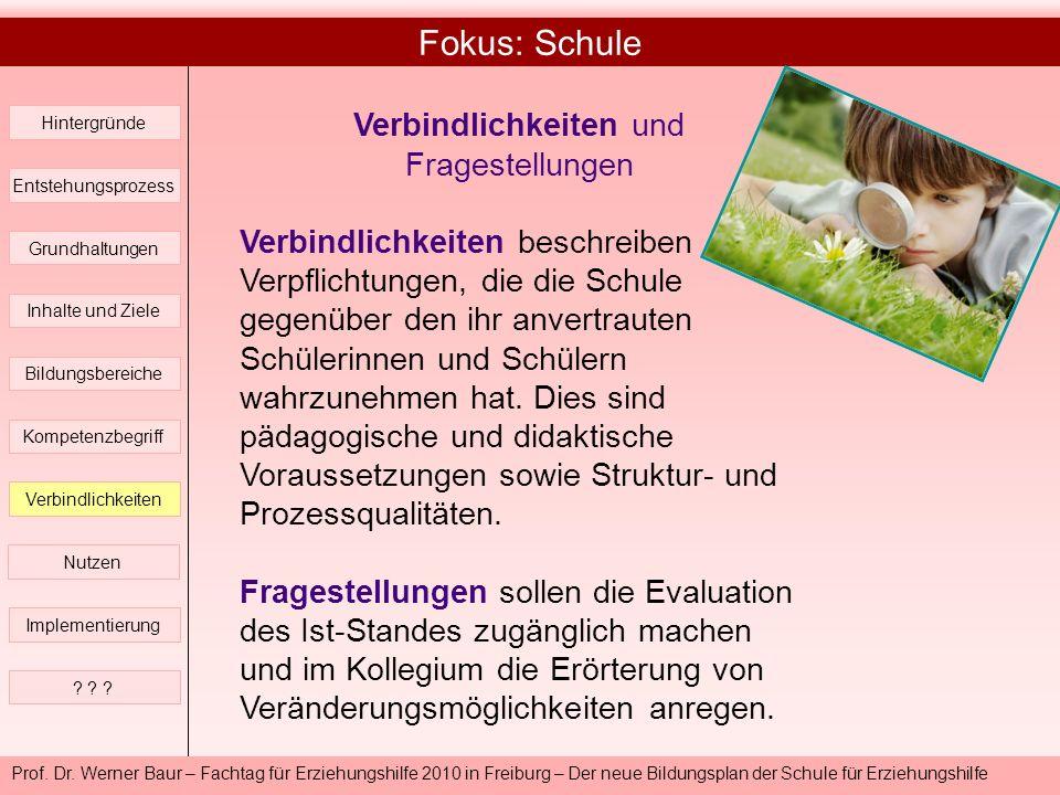 Prof. Dr. Werner Baur – Fachtag für Erziehungshilfe 2010 in Freiburg – Der neue Bildungsplan der Schule für Erziehungshilfe Fokus: Schule Hintergründe