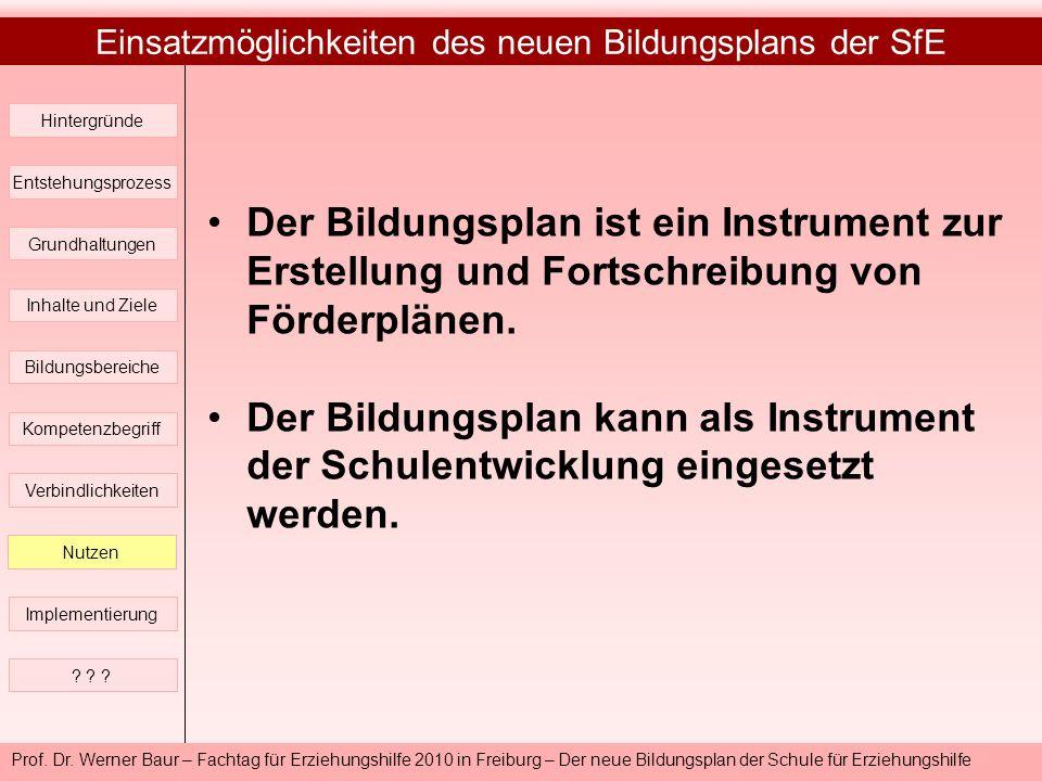 Prof. Dr. Werner Baur – Fachtag für Erziehungshilfe 2010 in Freiburg – Der neue Bildungsplan der Schule für Erziehungshilfe Einsatzmöglichkeiten des n