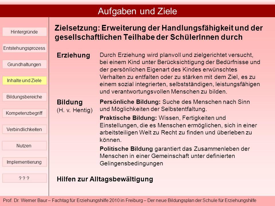 Prof. Dr. Werner Baur – Fachtag für Erziehungshilfe 2010 in Freiburg – Der neue Bildungsplan der Schule für Erziehungshilfe Aufgaben und Ziele Hinterg