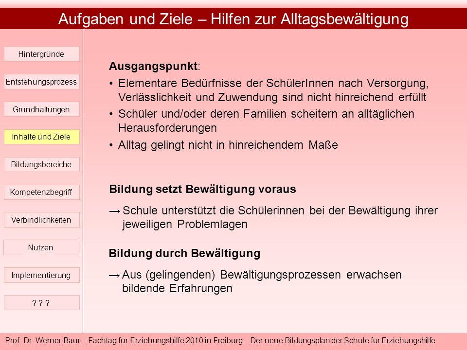 Prof. Dr. Werner Baur – Fachtag für Erziehungshilfe 2010 in Freiburg – Der neue Bildungsplan der Schule für Erziehungshilfe Aufgaben und Ziele – Hilfe