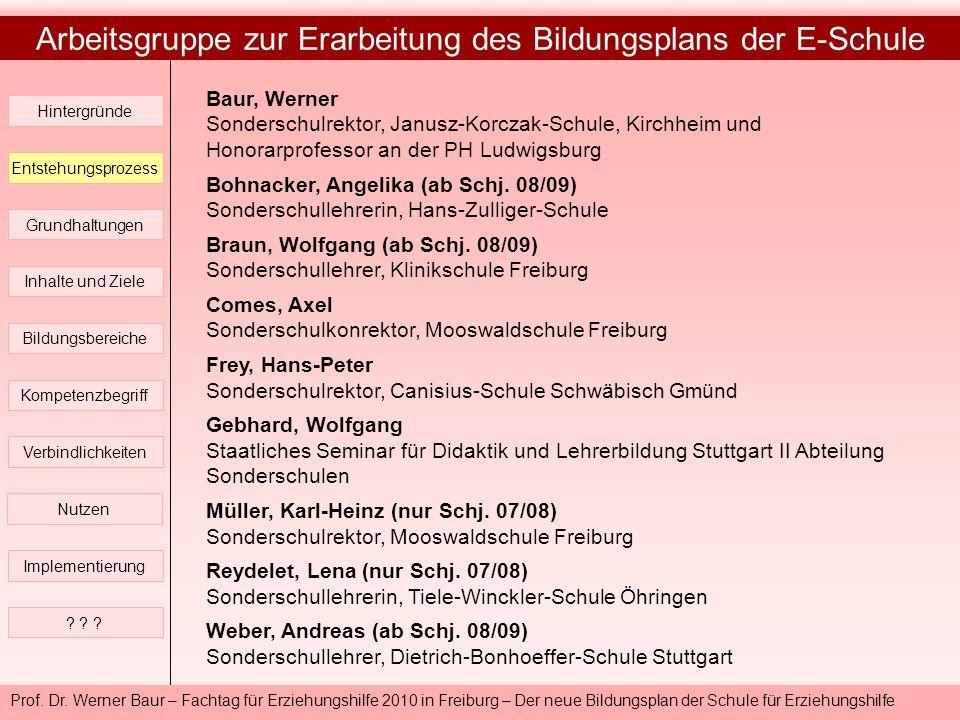 Prof. Dr. Werner Baur – Fachtag für Erziehungshilfe 2010 in Freiburg – Der neue Bildungsplan der Schule für Erziehungshilfe Arbeitsgruppe zur Erarbeit