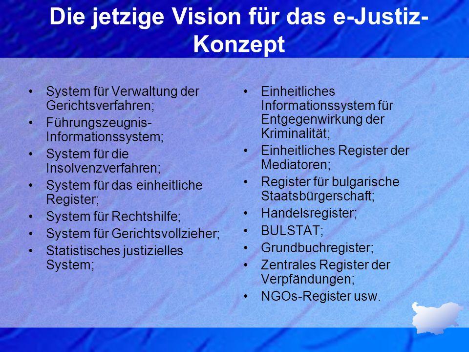 Die jetzige Vision für das e-Justiz- Konzept System für Verwaltung der Gerichtsverfahren; Führungszeugnis- Informationssystem; System für die Insolven