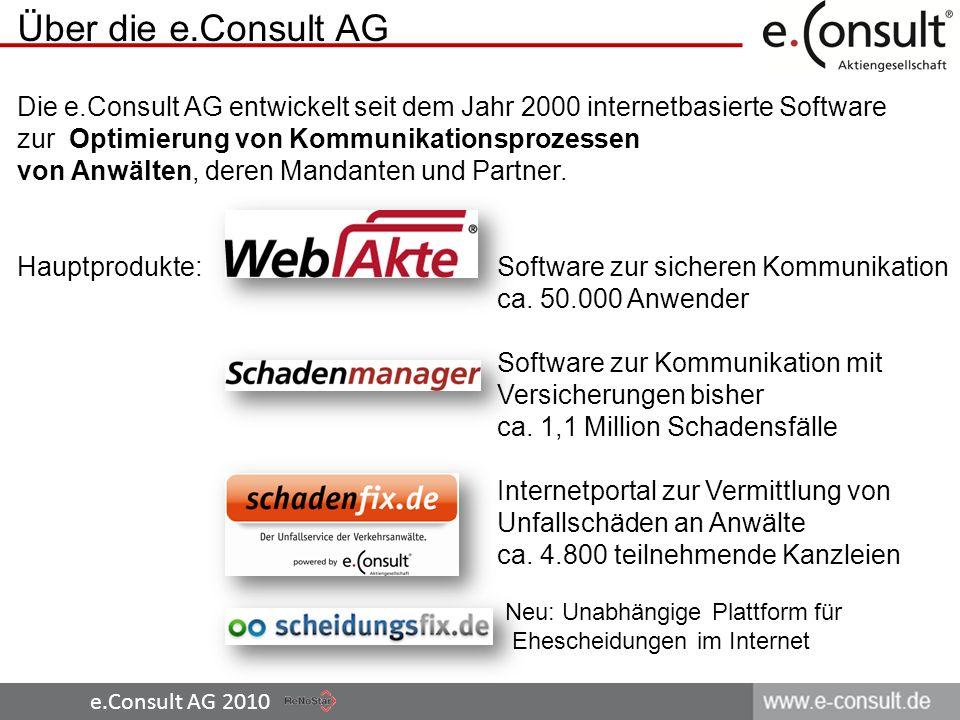 e.Consult AG 2010 Über die e.Consult AG Die e.Consult AG entwickelt seit dem Jahr 2000 internetbasierte Software zur Optimierung von Kommunikationspro