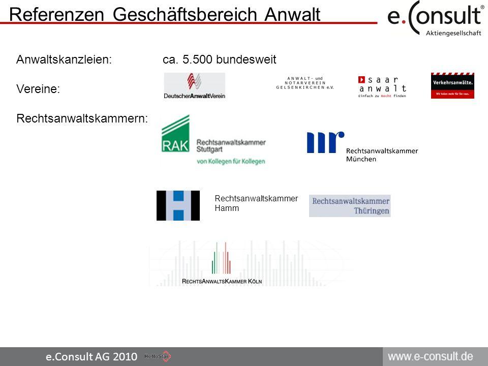 e.Consult AG 2010 Referenzen Geschäftsbereich Anwalt Rechtsanwaltskammer Hamm Anwaltskanzleien: ca. 5.500 bundesweit Vereine: Rechtsanwaltskammern: