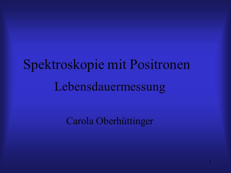 1 Spektroskopie mit Positronen Lebensdauermessung Carola Oberhüttinger
