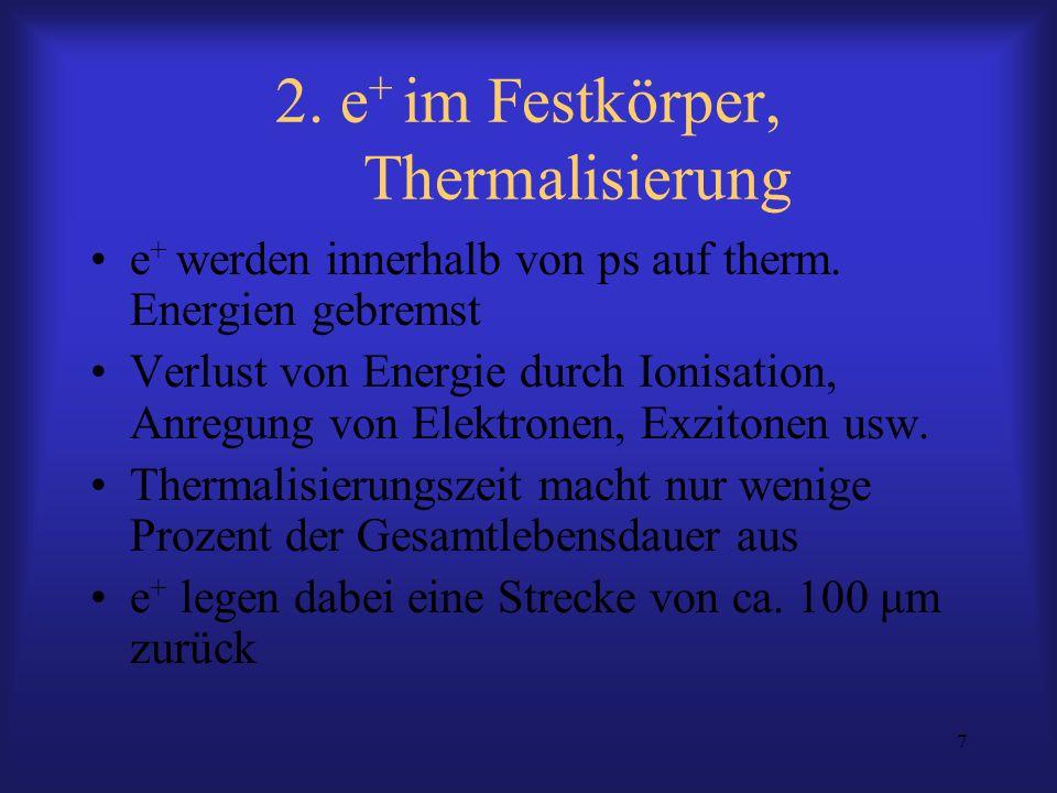 7 2. e + im Festkörper, Thermalisierung e + werden innerhalb von ps auf therm. Energien gebremst Verlust von Energie durch Ionisation, Anregung von El