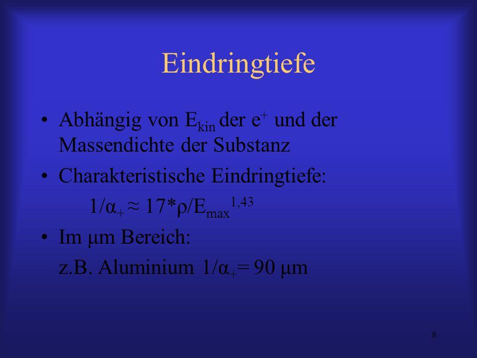 8 Eindringtiefe Abhängig von E kin der e + und der Massendichte der Substanz Charakteristische Eindringtiefe: 1/α + 17*ρ/E max 1,43 Im μm Bereich: z.B