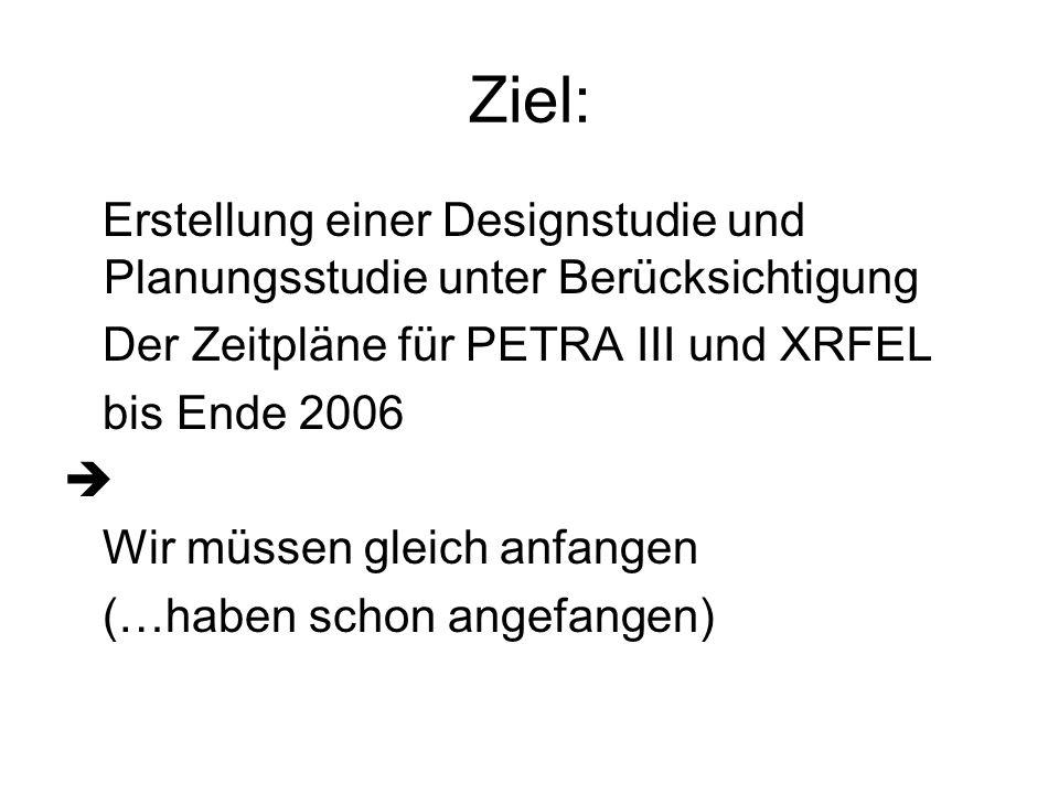 Ziel: Erstellung einer Designstudie und Planungsstudie unter Berücksichtigung Der Zeitpläne für PETRA III und XRFEL bis Ende 2006 Wir müssen gleich anfangen (…haben schon angefangen)
