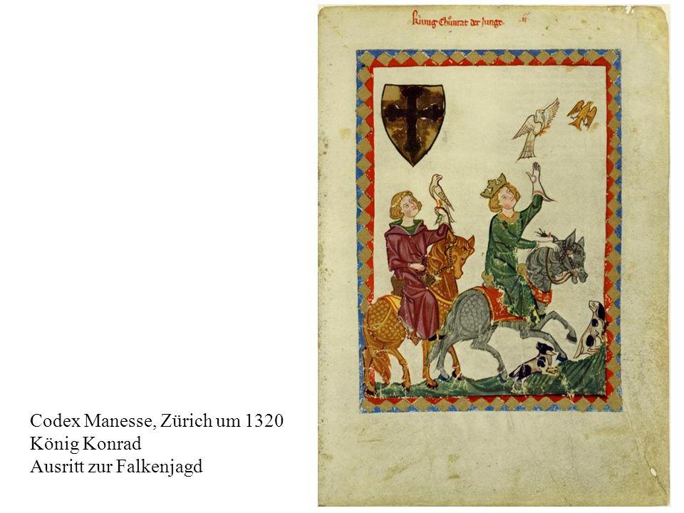 12 Codex Manesse, Zürich um 1320 König Konrad Ausritt zur Falkenjagd