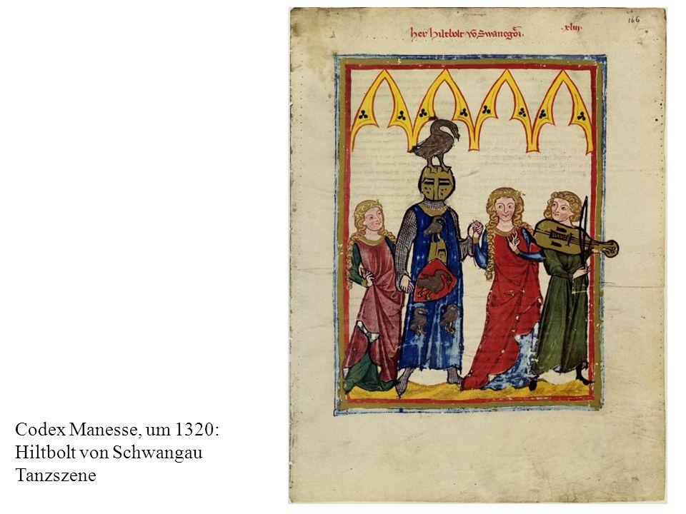 15 Codex Manesse, um 1320: Hiltbolt von Schwangau Tanzszene
