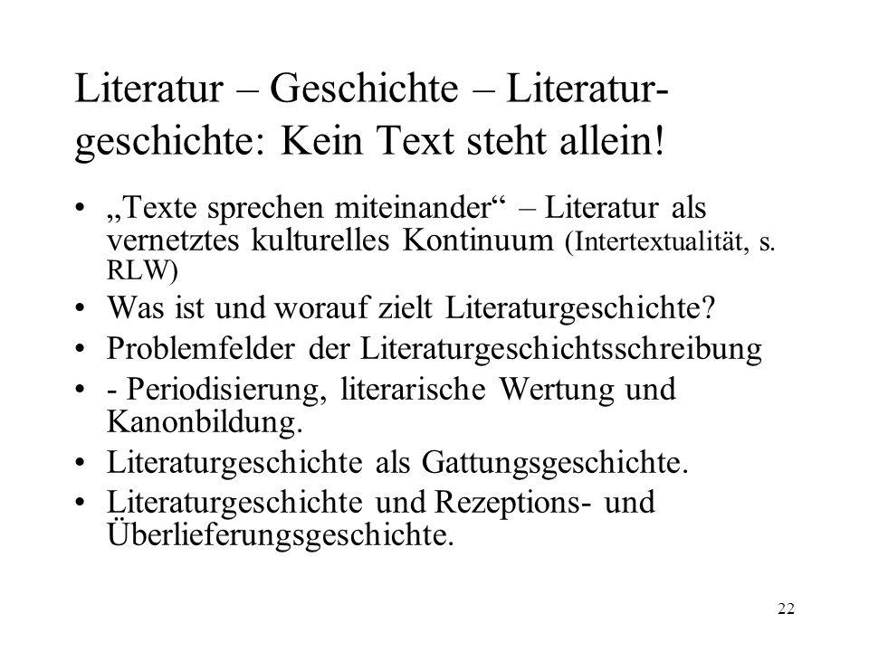 22 Literatur – Geschichte – Literatur- geschichte: Kein Text steht allein! Texte sprechen miteinander – Literatur als vernetztes kulturelles Kontinuum