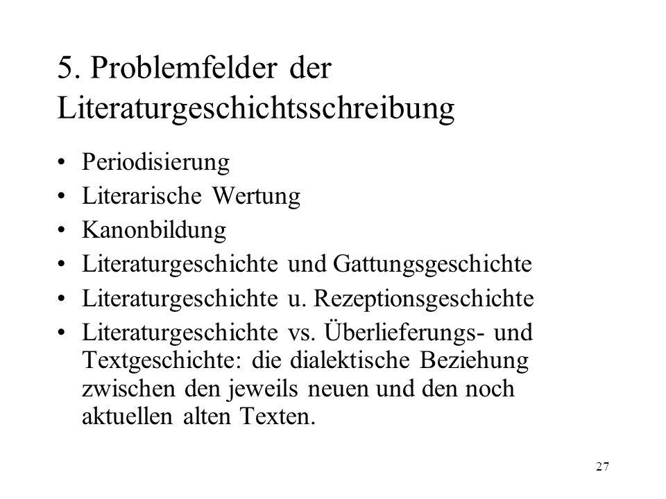 27 5. Problemfelder der Literaturgeschichtsschreibung Periodisierung Literarische Wertung Kanonbildung Literaturgeschichte und Gattungsgeschichte Lite