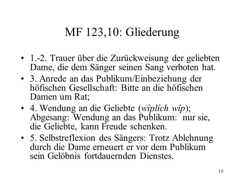 10 MF 123,10: Gliederung 1.-2.
