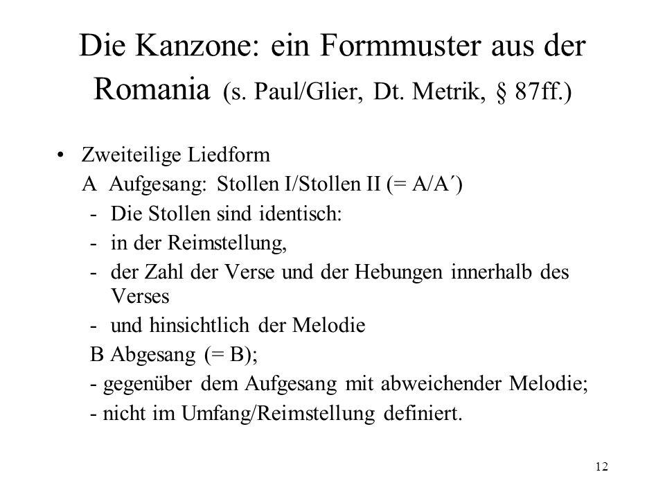 12 Die Kanzone: ein Formmuster aus der Romania (s.