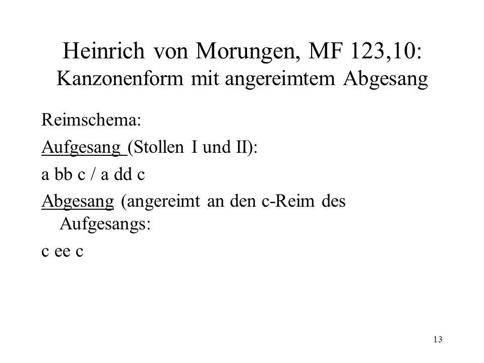 13 Heinrich von Morungen, MF 123,10: Kanzonenform mit angereimtem Abgesang Reimschema: Aufgesang (Stollen I und II): a bb c / a dd c Abgesang (angereimt an den c-Reim des Aufgesangs: c ee c