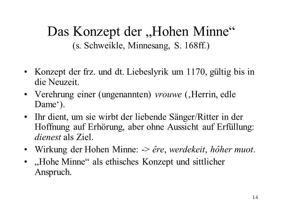 14 Das Konzept der Hohen Minne (s.Schweikle, Minnesang, S.