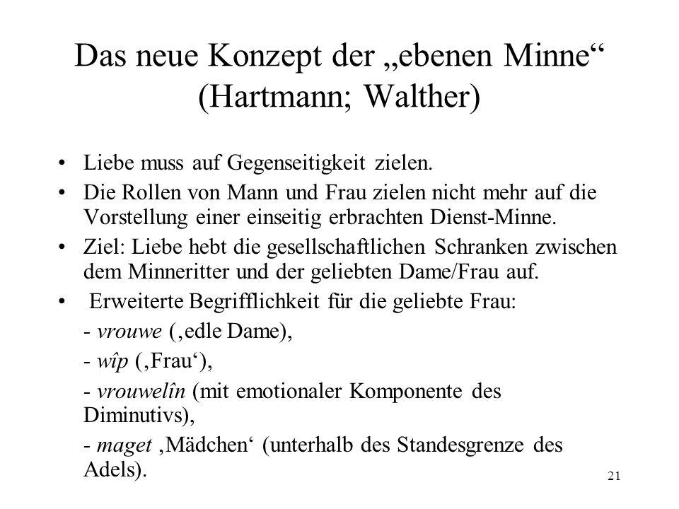 21 Das neue Konzept der ebenen Minne (Hartmann; Walther) Liebe muss auf Gegenseitigkeit zielen.