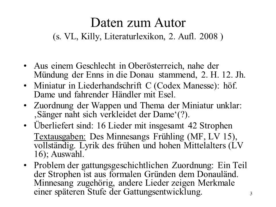 4 Dietmars von Eist, Tagelied (MF 39,18) Handwerk friedel stm.