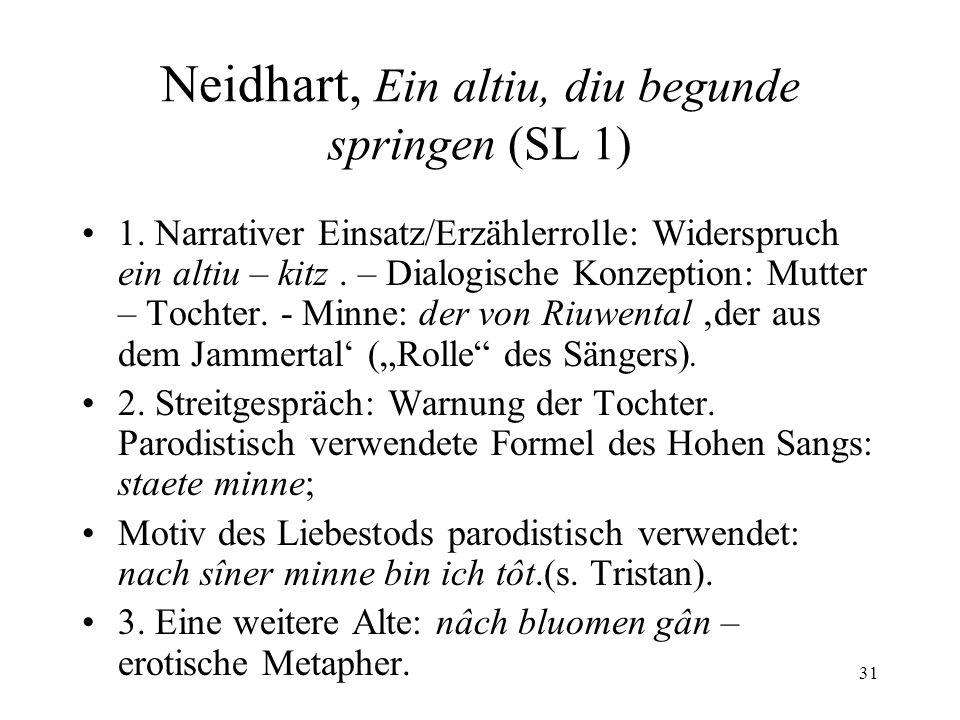 31 Neidhart, Ein altiu, diu begunde springen (SL 1) 1.