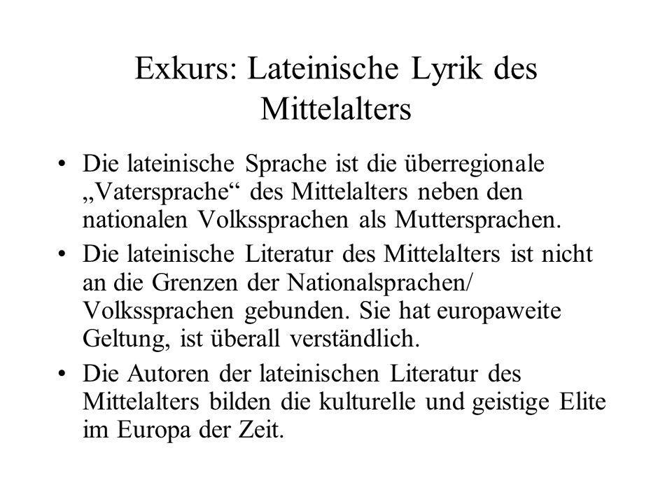 Exkurs: Lateinische Lyrik des Mittelalters Die lateinische Sprache ist die überregionale Vatersprache des Mittelalters neben den nationalen Volkssprachen als Muttersprachen.
