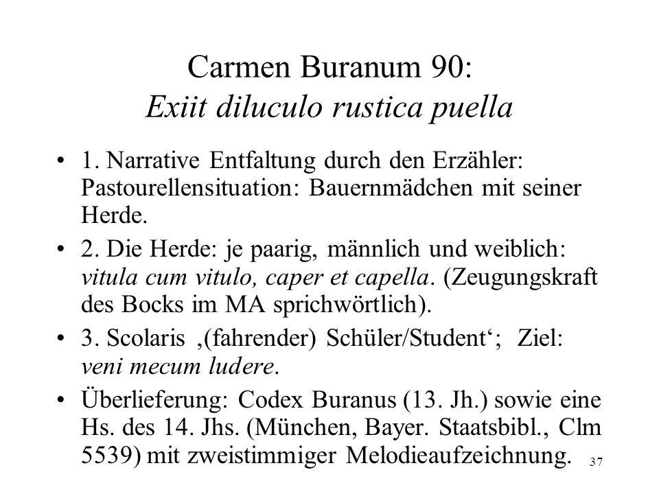 37 Carmen Buranum 90: Exiit diluculo rustica puella 1.