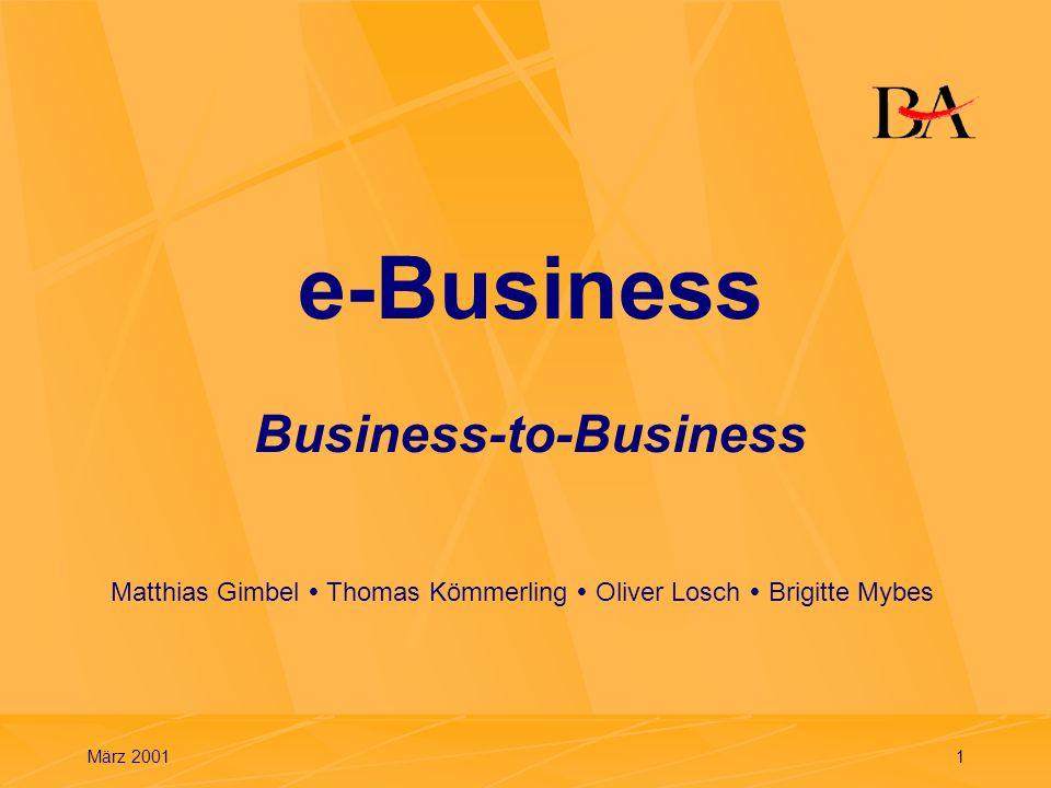 März 20012 Gliederung 1.Grundlagen 2.Business-to-Business (B2B) 3.Microsoft BizTalk Server 4.Weg zur Vollintegration 5.Entwicklungstendenzen 6.Zusammenfassung
