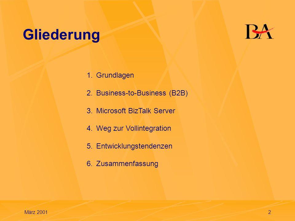 März 200113 Unternehmensablauf mit e-Business Minimierung der Transport- und Liegezeiten medienbruchlose Verarbeitung und Kommunikation Integration unterschiedlicher ERP-Systeme via Internet mit XML Vollintegration aller Prozesse entlang der gesamten Wertschöpfungskette (Aufbrechen traditioneller Strukturen) 2.