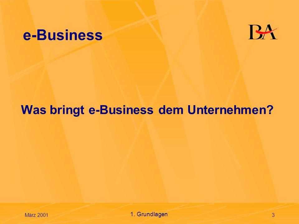 März 20014 Grundlagen des e-Business Ein gesicherter, flexibler und integrierter Ansatz, um unterschiedlichen Unternehmen Werte durch Kombination der Systeme und Verfahren bereitzustellen, die Kerngeschäfts- vorgänge mit der durch die Internet-Technologie möglichen Einfachheit und Reichweite zu betreiben.