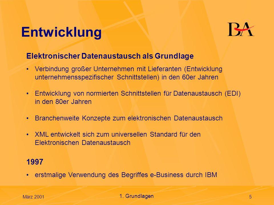 März 20016 Globale Vernetzung der Unternehmen 1. Grundlagen