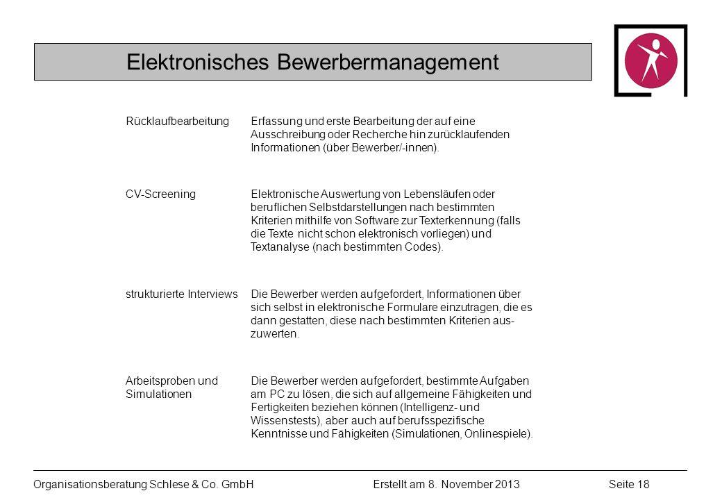 Organisationsberatung Schlese & Co.GmbHSeite 18 Erstellt am 8.