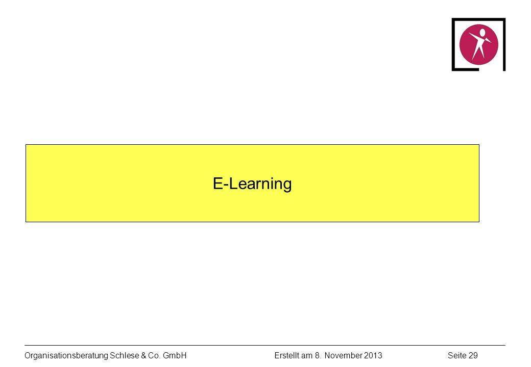 Organisationsberatung Schlese & Co. GmbHSeite 29 Erstellt am 8. November 2013 E-Learning