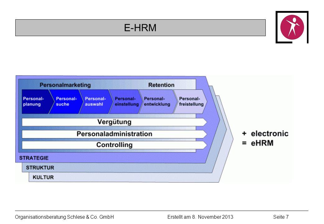 Organisationsberatung Schlese & Co. GmbHSeite 7 Erstellt am 8. November 2013 E-HRM