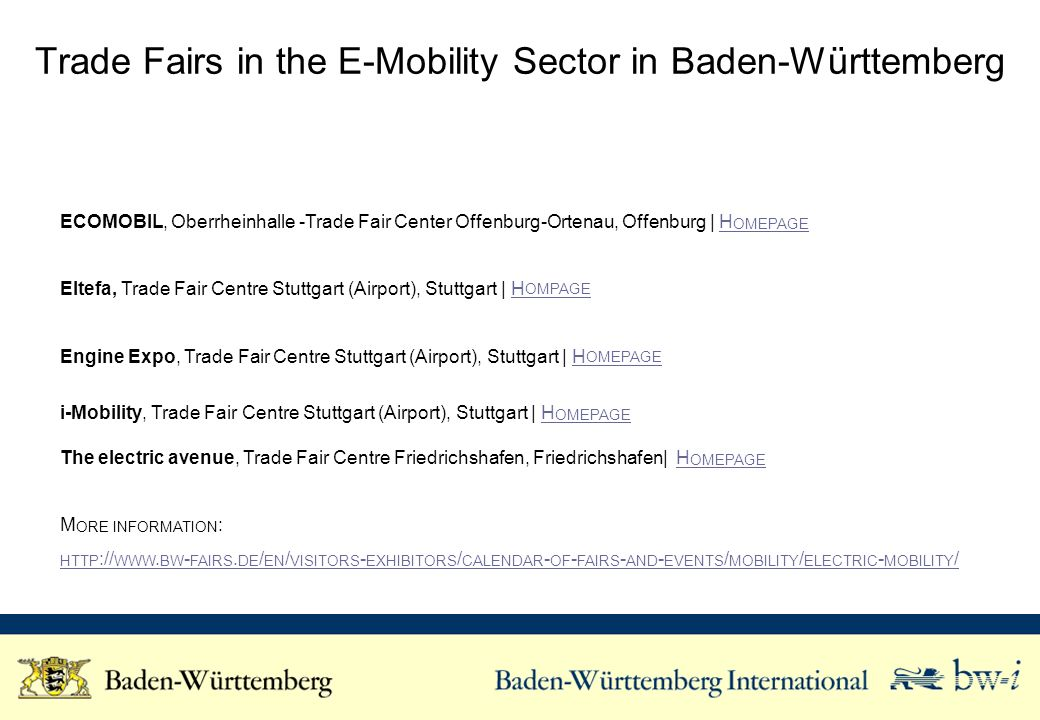 Trade Fairs in the E-Mobility Sector in Baden-Württemberg ECOMOBIL, Oberrheinhalle -Trade Fair Center Offenburg-Ortenau, Offenburg | H OMEPAGEH OMEPAG