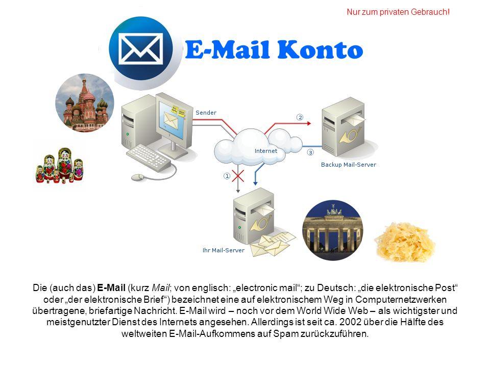 E-Mail Konto Die (auch das) E-Mail (kurz Mail; von englisch: electronic mail; zu Deutsch: die elektronische Post oder der elektronische Brief) bezeich