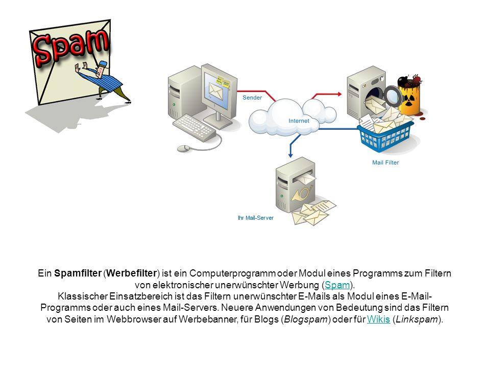 Ein Spamfilter (Werbefilter) ist ein Computerprogramm oder Modul eines Programms zum Filtern von elektronischer unerwünschter Werbung (Spam).Spam Klas