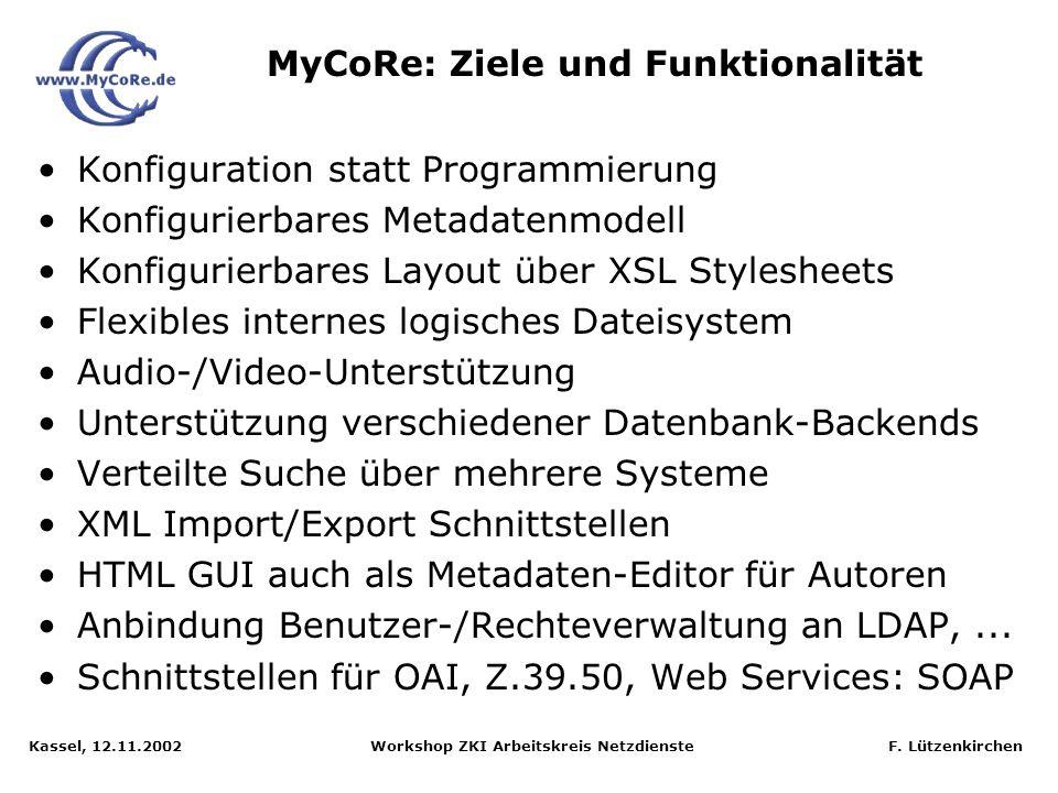 Kassel, 12.11.2002 Workshop ZKI Arbeitskreis Netzdienste F. Lützenkirchen Universität Essen: Rechenzentrum, Bibliothek, Medienzentrum Universität Jena