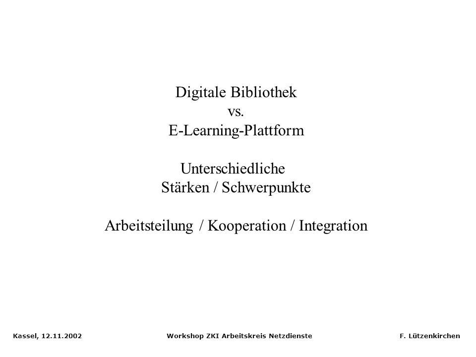 Kassel, 12.11.2002 Workshop ZKI Arbeitskreis Netzdienste F. Lützenkirchen Verteilte Suche in MyCoRe: Remote Query Server & Clients HTTP / XML Präsenta