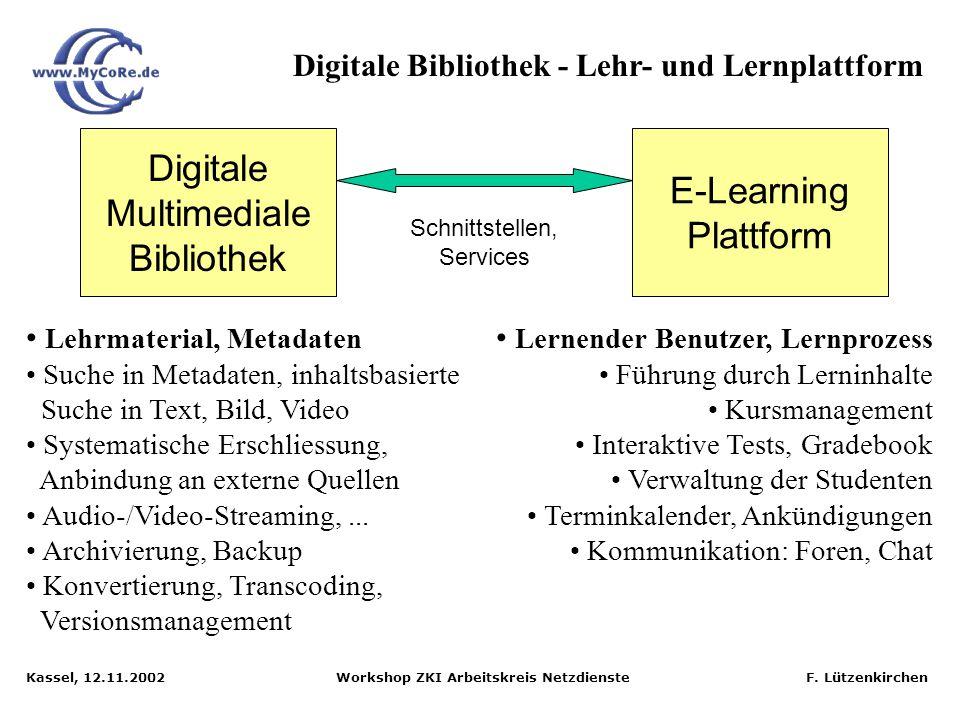 Kassel, 12.11.2002 Workshop ZKI Arbeitskreis Netzdienste F. Lützenkirchen Digitale Bibliothek vs. E-Learning-Plattform Unterschiedliche Stärken / Schw
