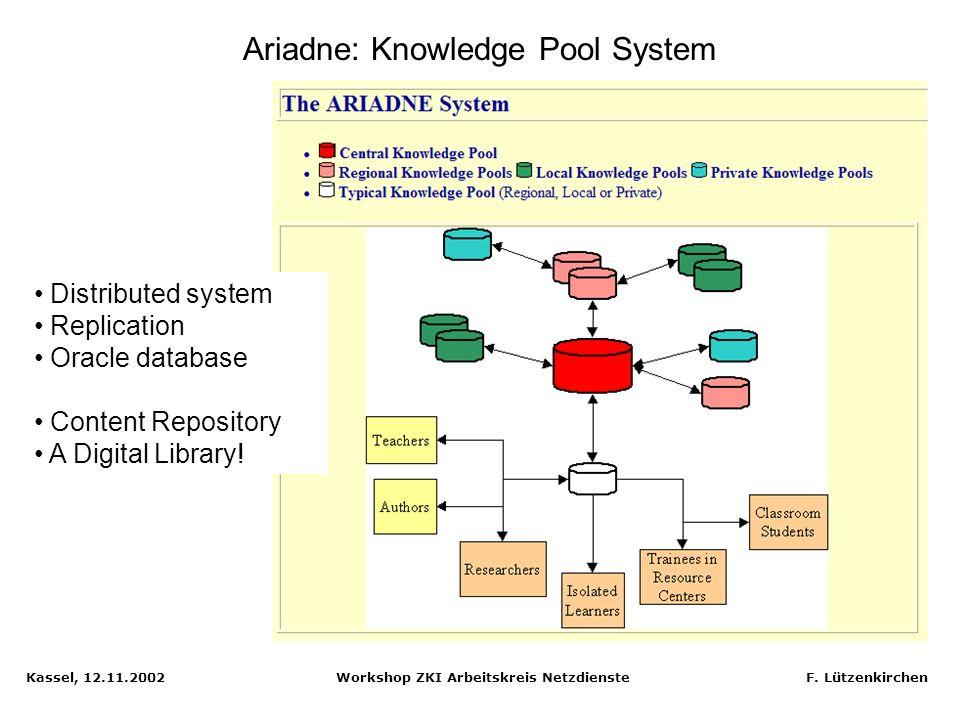 Kassel, 12.11.2002 Workshop ZKI Arbeitskreis Netzdienste F. Lützenkirchen Ariadne: Learner interface tool