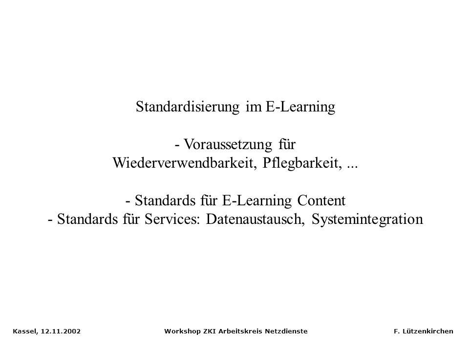 Kassel, 12.11.2002 Workshop ZKI Arbeitskreis Netzdienste F. Lützenkirchen Ariadne: Knowledge Pool System Distributed system Replication Oracle databas