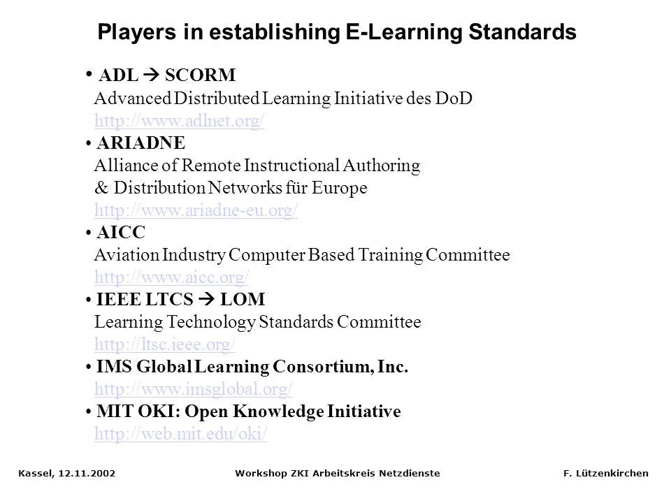 Kassel, 12.11.2002 Workshop ZKI Arbeitskreis Netzdienste F. Lützenkirchen Standardisierung im E-Learning - Voraussetzung für Wiederverwendbarkeit, Pfl