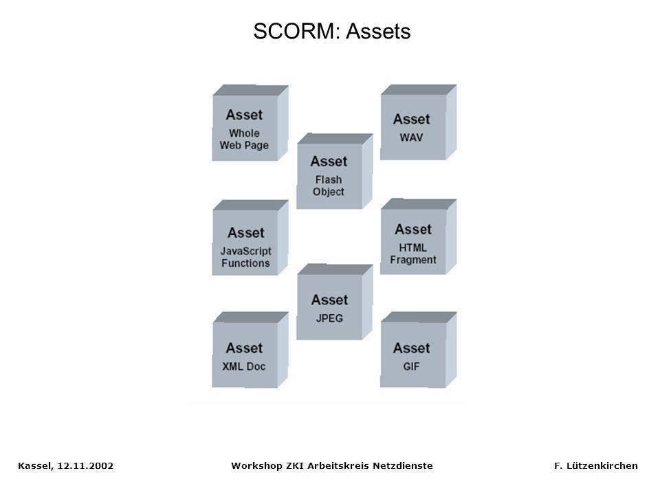 Kassel, 12.11.2002 Workshop ZKI Arbeitskreis Netzdienste F. Lützenkirchen Learning Management System in SCORM Quelle: SCORM Dokumentation
