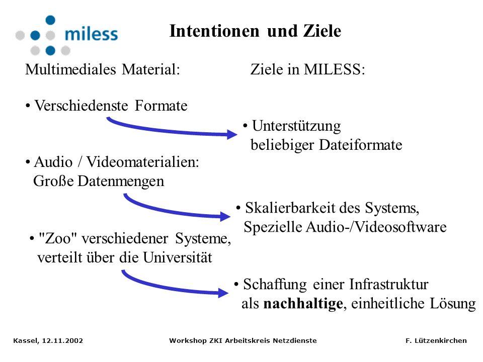 Kassel, 12.11.2002 Workshop ZKI Arbeitskreis Netzdienste F. Lützenkirchen oft flüchtig, Verfügbarkeit nicht garantiert Lehr- und Lernmaterial istZiele
